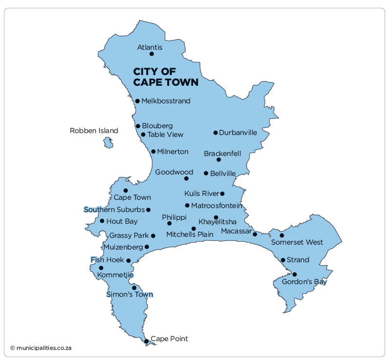 Map Of Cape Town City of Cape Town Metropolitan Municipality   Map